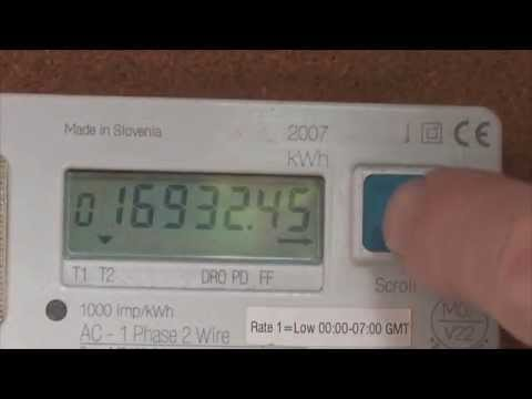 Reading a UK Dual rate electricity meter