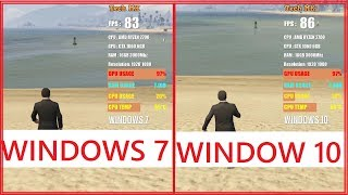 Windows 7 vs Windows 10 | GTA 5 |  High Settings | 1080p | Test in 8 Games