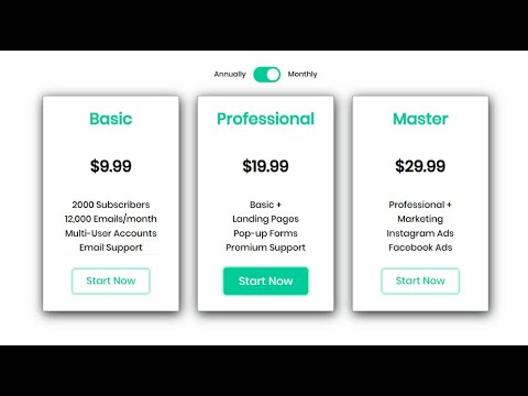 RESPONSIVE PRICING TABLE | PRICING CARDS | ANIMATION WITH HTML , CSS & JS | MONTHLY & ANNUALLY PRICE