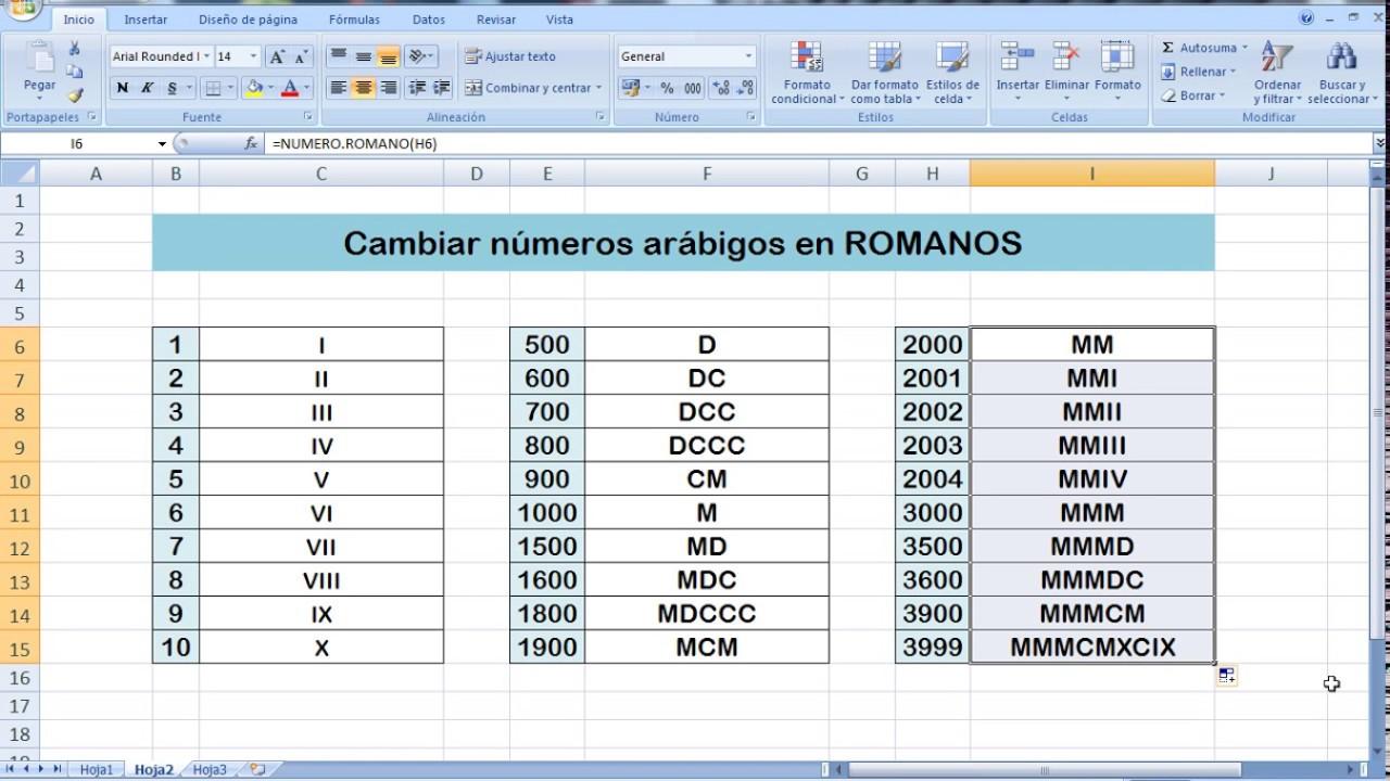 Cambiar Números A Números Romanos En Excel Youtube