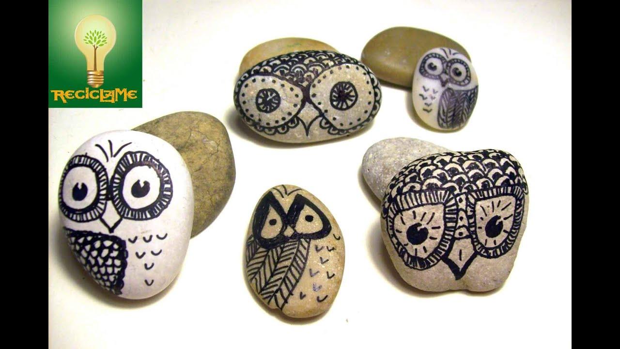 Como pintar un buho de la suerte sobre piedra de r o youtube for Como pintar imitacion piedra