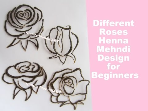 How To Draw Different Style Roses Design With Henna Mehndi
