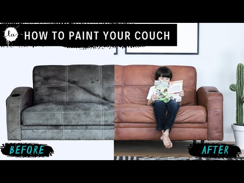 DIY Leather couch - How to paint on Microfiber! Secret Fabric Paint Recipe - SOFT