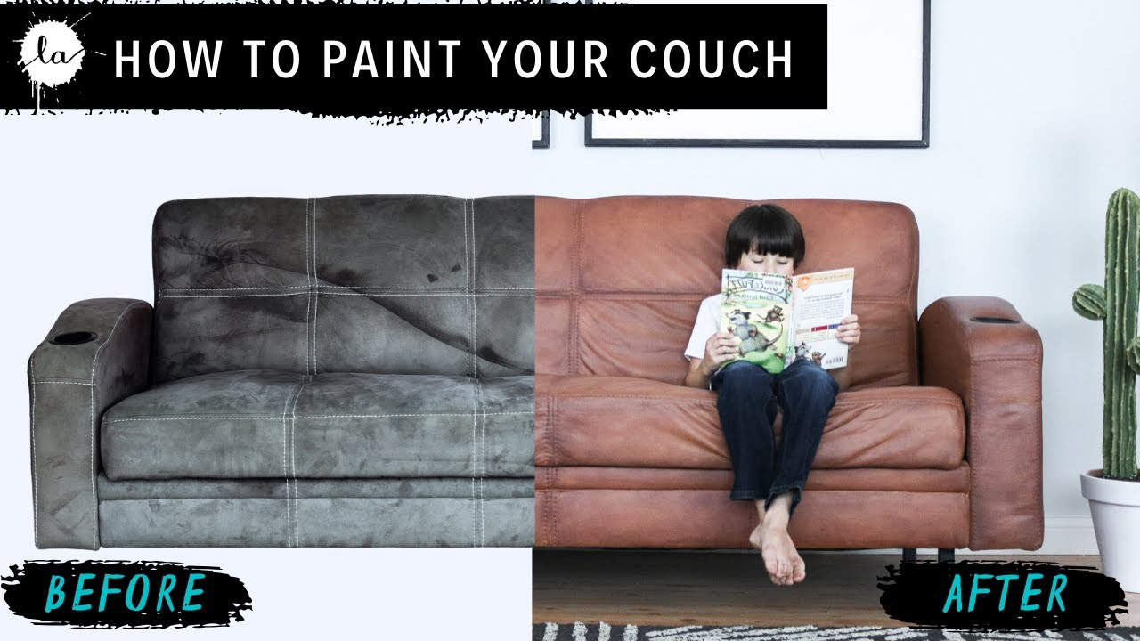 - DIY Leather Couch - How To Paint On Microfiber! Secret Fabric