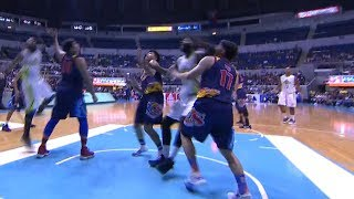 Chris Tiu goes down after being hit hard by Malcolm White in the face!   PBA Commissioner's Cup 2018