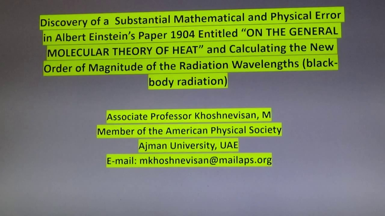 95e1f841757 Discovery of a substantial mathematical and physical error in Albert  Einstein's paper 1904