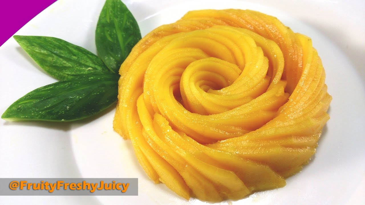 Very Sexy Mango Flower Carving Garnish - How To Make Mango Rose