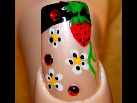 Strawberry blossoming nail art tutorial youtube prinsesfo Choice Image