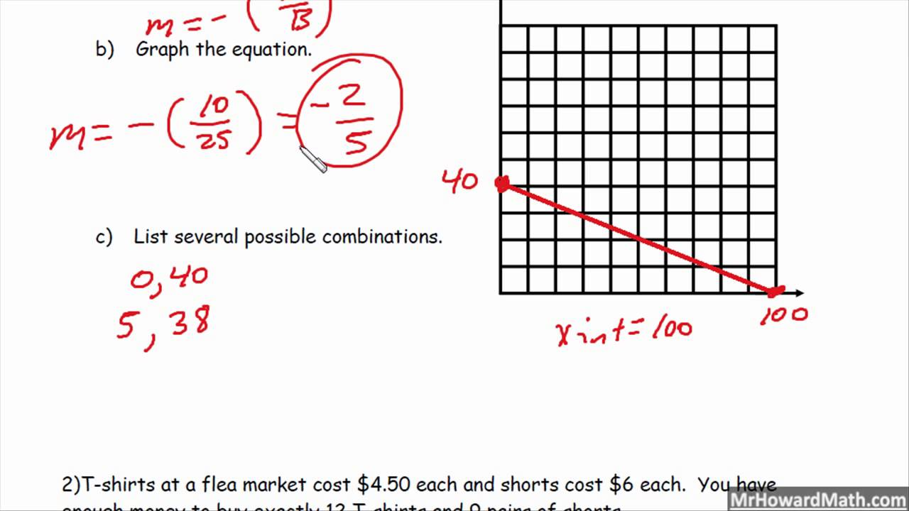 Standard form linear equation word problems youtube standard form linear equation word problems falaconquin
