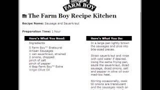 Farm Boy Commercial: Sausage And Sauerkraut