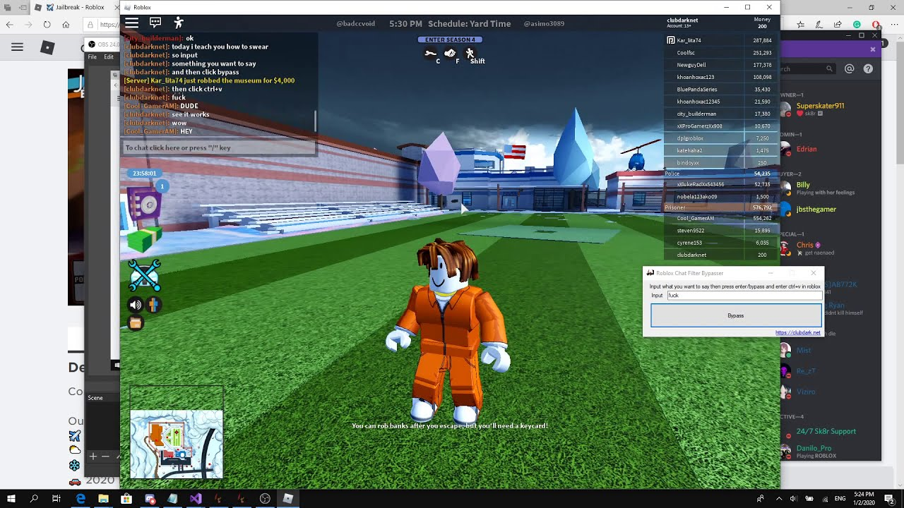 Roblox Chat Filter Bypasser Club Dark Roblox Exploit