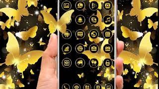 Black Golden Butterfly Glitter Theme screenshot 1