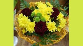 видео букет из роз и хризантем