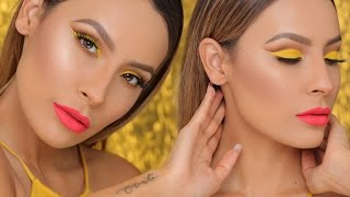 PIKACHU YELLOW CUT CREASE W/ BOLD LIP | DESI PERKINS
