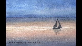 How to Paint a Waterscape With a Sailing Boat in Watercolor (Easy - Narrated)