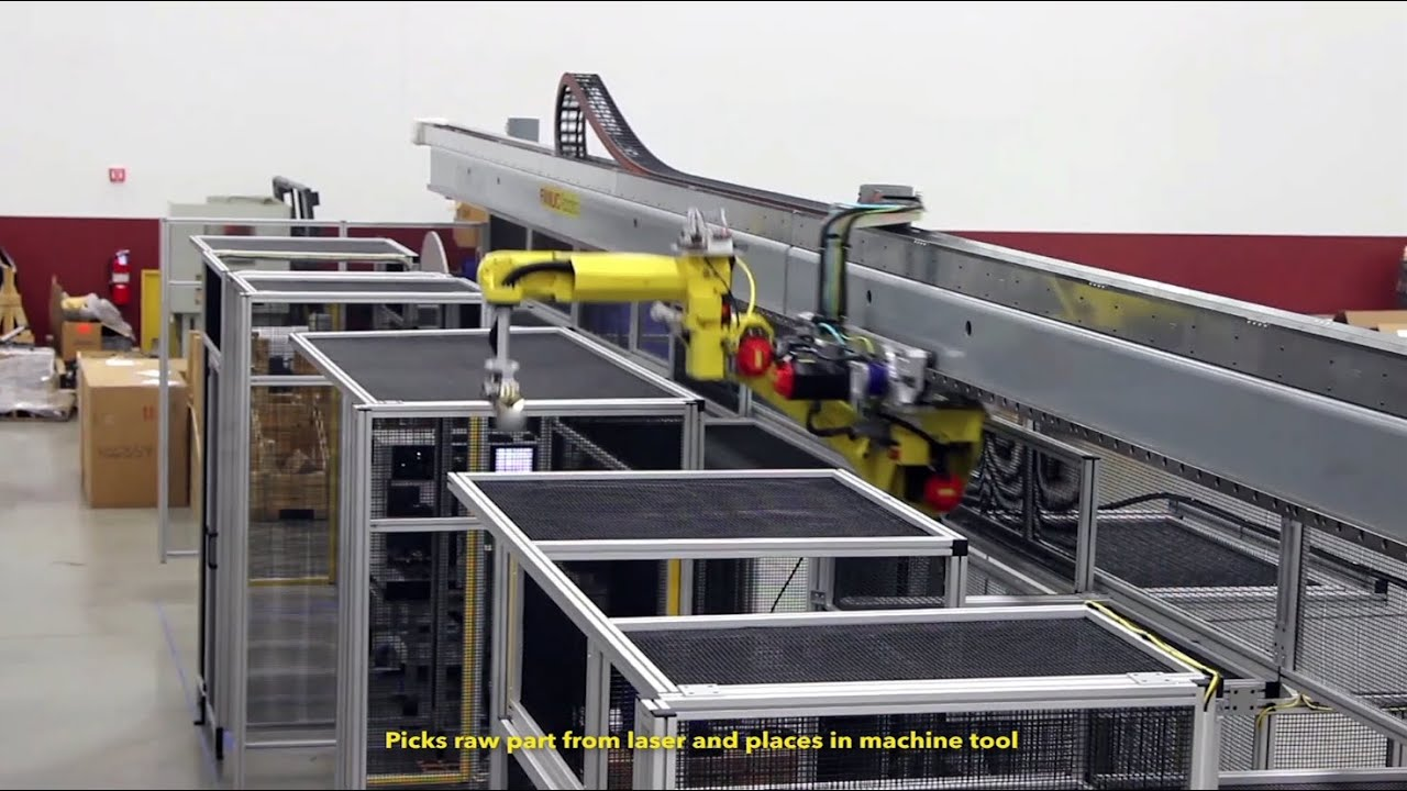 Automated System Uses Overhead Gantry Robot & Deburring Robot To Machine  Parts - Matrix Design