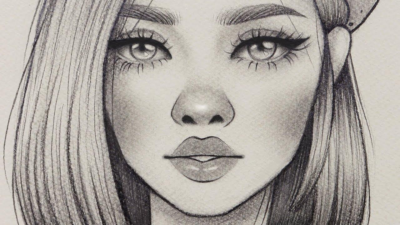 تعلم الرسم كيف ترسم بورتريه فتاه باسلوب كرتوني رسم خطوه بخطوة