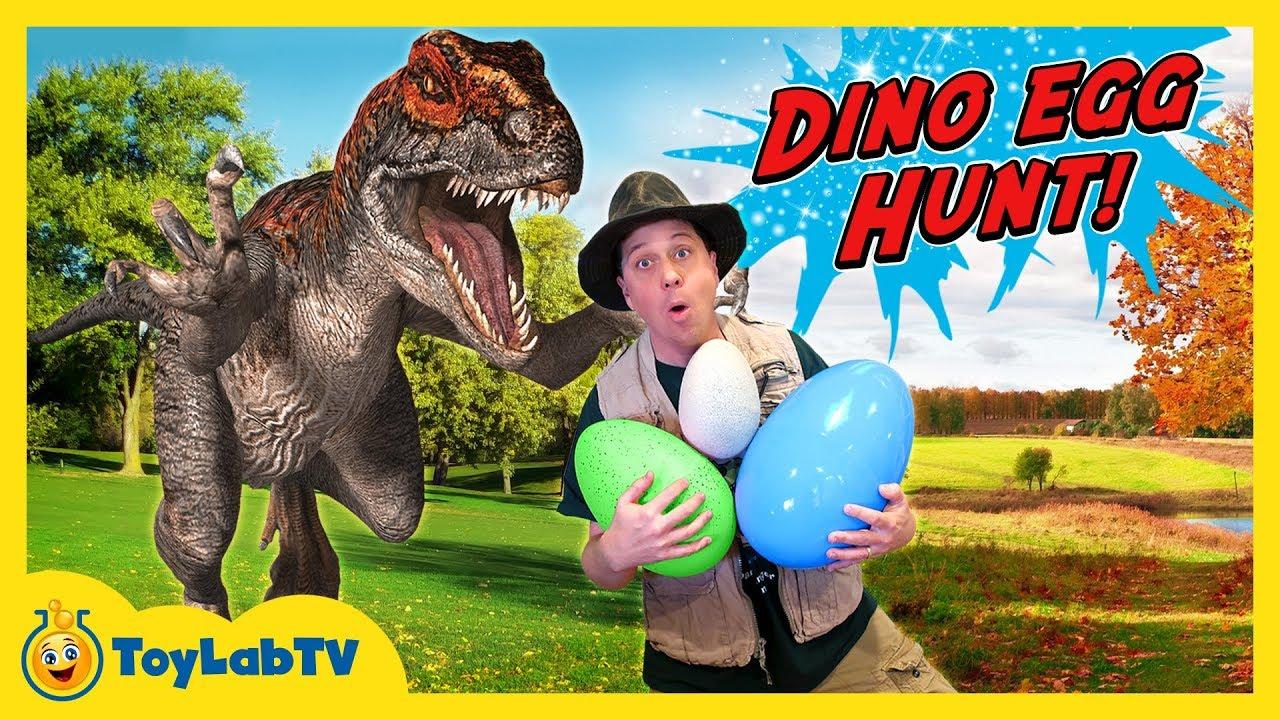 Life Size Raptor Dinosaur Chase & Surprise Toys Egg Hunt
