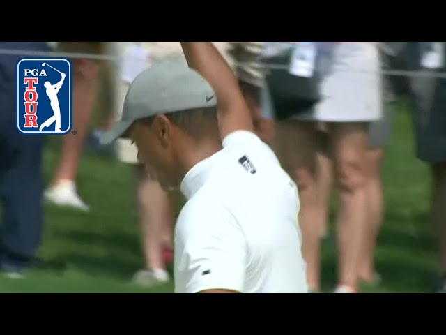 Tiger Woods chips in for birdie at the Memorial 2019