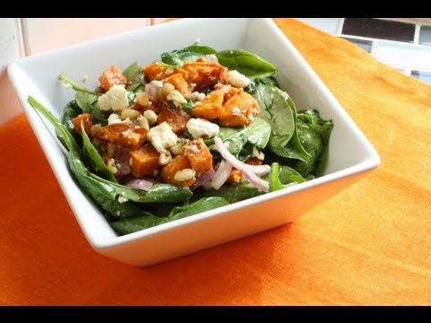 Sweet Potato Feta Spinach Salad