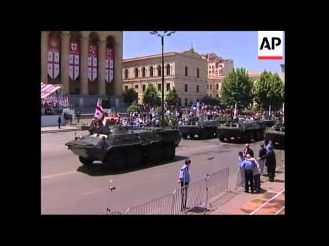Georgia marks independence day with huge military parade; anti-govt protest