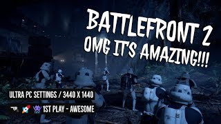 STAR WARS BETA BATTLEFRONT 2 GAMEPLAY - ULTRA Graphics WOW  1st Play 3440 X 1440 @ 60FPS