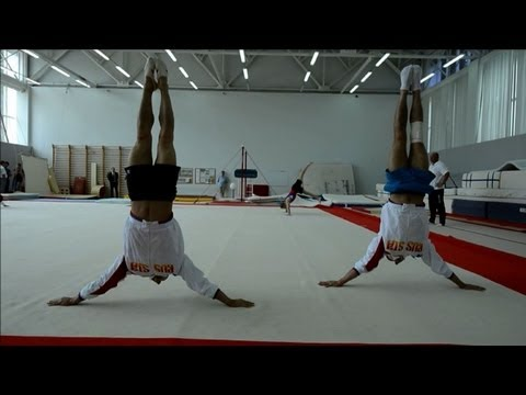 Russia's male gymnasts train for Olympics