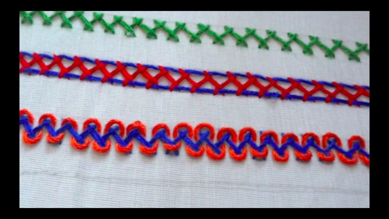 Embroidery Stitches 3 Types Of Herringbone Stitch Youtube
