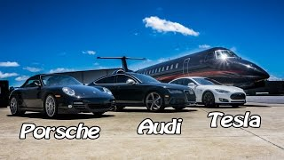 Ludicrous Tesla Airstrip Racing vs Audi RS7 & Porsche Turbo S