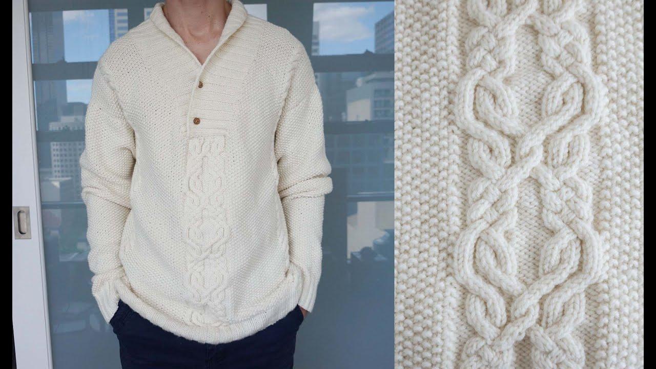 Как вязать спицами рукав на мужском свитере