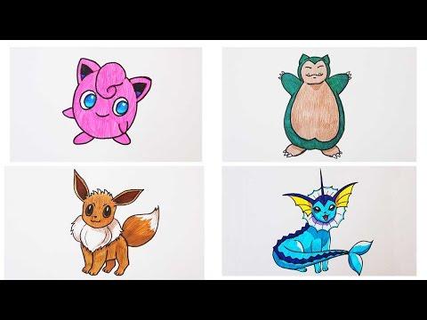 видео: Как нарисовать покемонов: джиглипуф, снорлакс, иви, вапореон how to draw a pokemon | art school