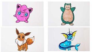 Как нарисовать покемонов: джиглипуф, снорлакс, иви, вапореон how to draw a pokemon | Art School