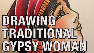 Gambar cover Drawing a gypsy woman - Traditional Tattoo Flash #5