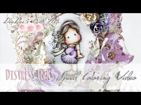 Distress Ink Coloring Video - In the Wind Tilda by Magnolia