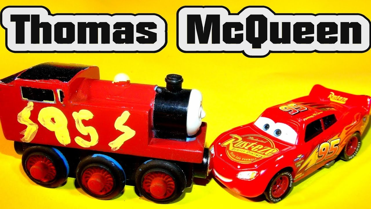 Wooden Toy Cars >> Pixar Cars Thomas McQueen or Lightning The Train Painting ...