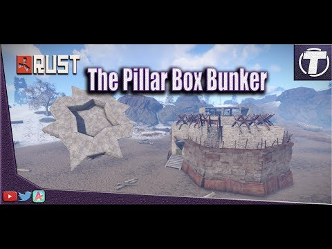 RUST Base Design - The Pillar Box Bunker Solo / Duo base Design - Rust base building - roof stacked