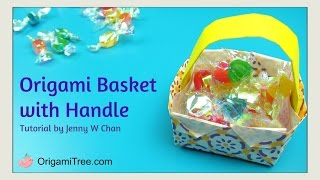 Easter Crafts - Origami Basket with Handle - Easy Kids Paper Crafts