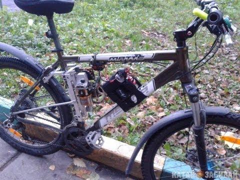 Переделка велосипеда с установкой двигателя от пилы дружба. - YouTube