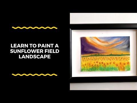 Paint a beautiful sunflower field landscape using soft pastels | chalk pastel artwork for beginners