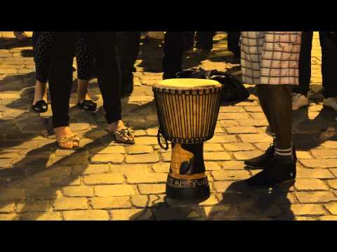 African dancers on street of Wroclaw, Poland - summer 2014