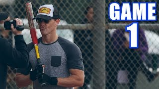 FIREBALL HITS FIVE HOME RUNS ON OPENING DAY! | Offseason Softball League | Game 1 thumbnail