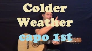 Colder Weather (Zac Brown Band) Easy Guitar Lesson How to Play Tutorial - Capo 1st Fret