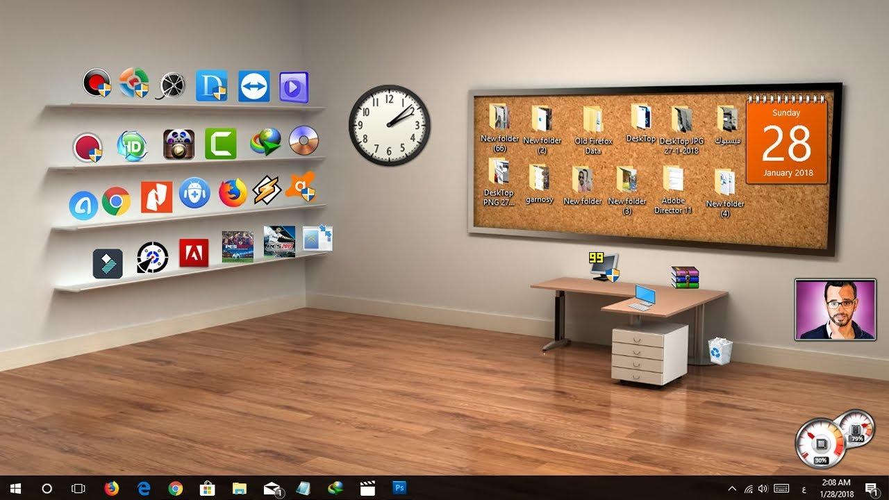 اجعل سطح مكتب حاسوبك ثلاثي الأبعاد 3D بشكل كلاسيكي منظم وانيق - فكرة #01