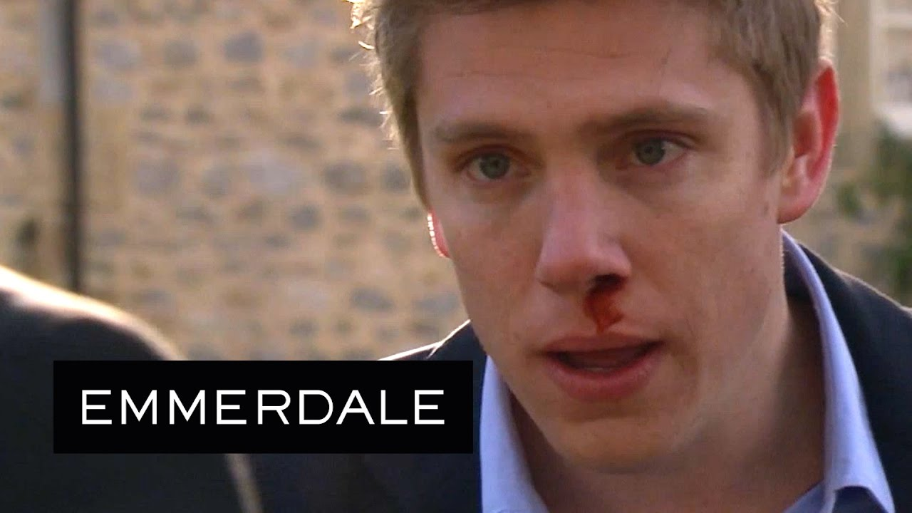 Emmerdale - Aaron Punches Robert After Leaving Prison