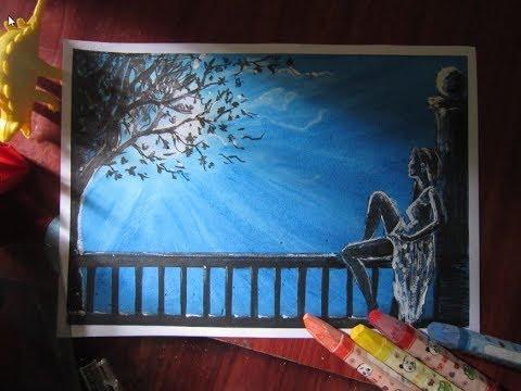 Vẽ tranh cô gái buồn ngồi ngắm trăng một mình trong đêm