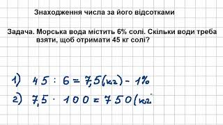 5 клас Математика Урок  12 Знаходження числа за його відсотками