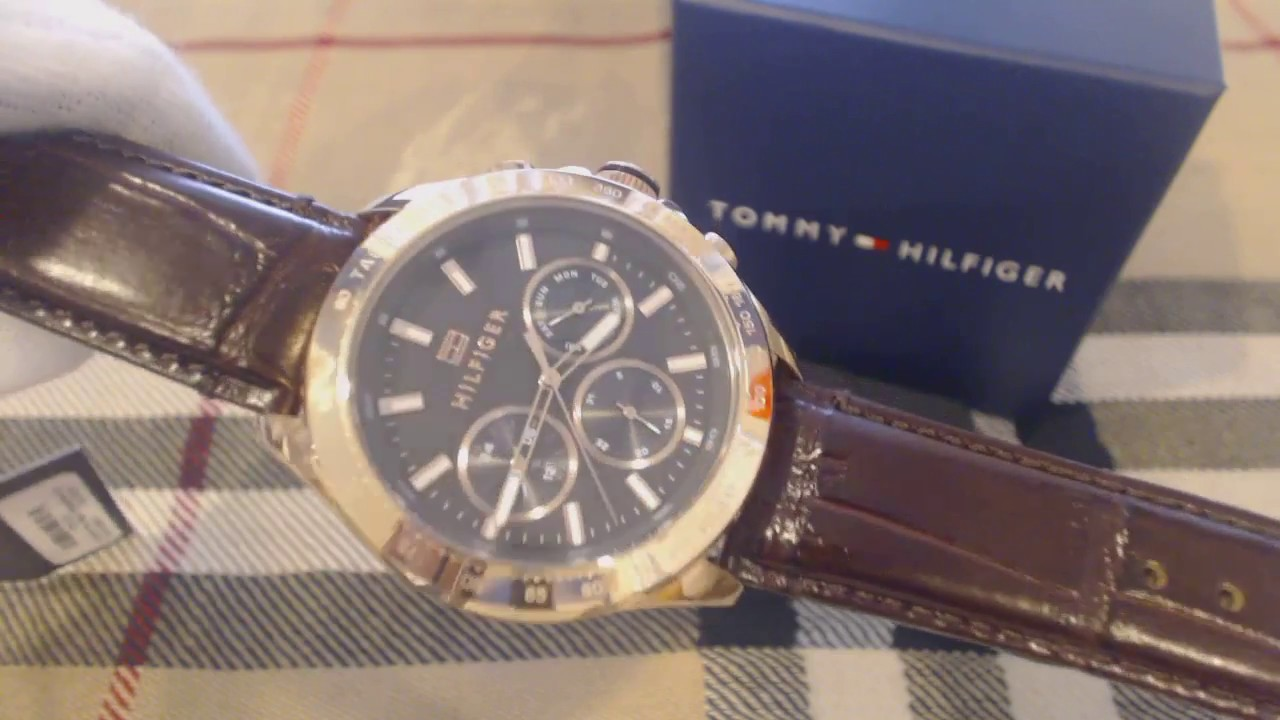 2bcf9f57 Men's Tommy Hilfiger Hudson Brown Leather Chronograph Watch 1791225 ...