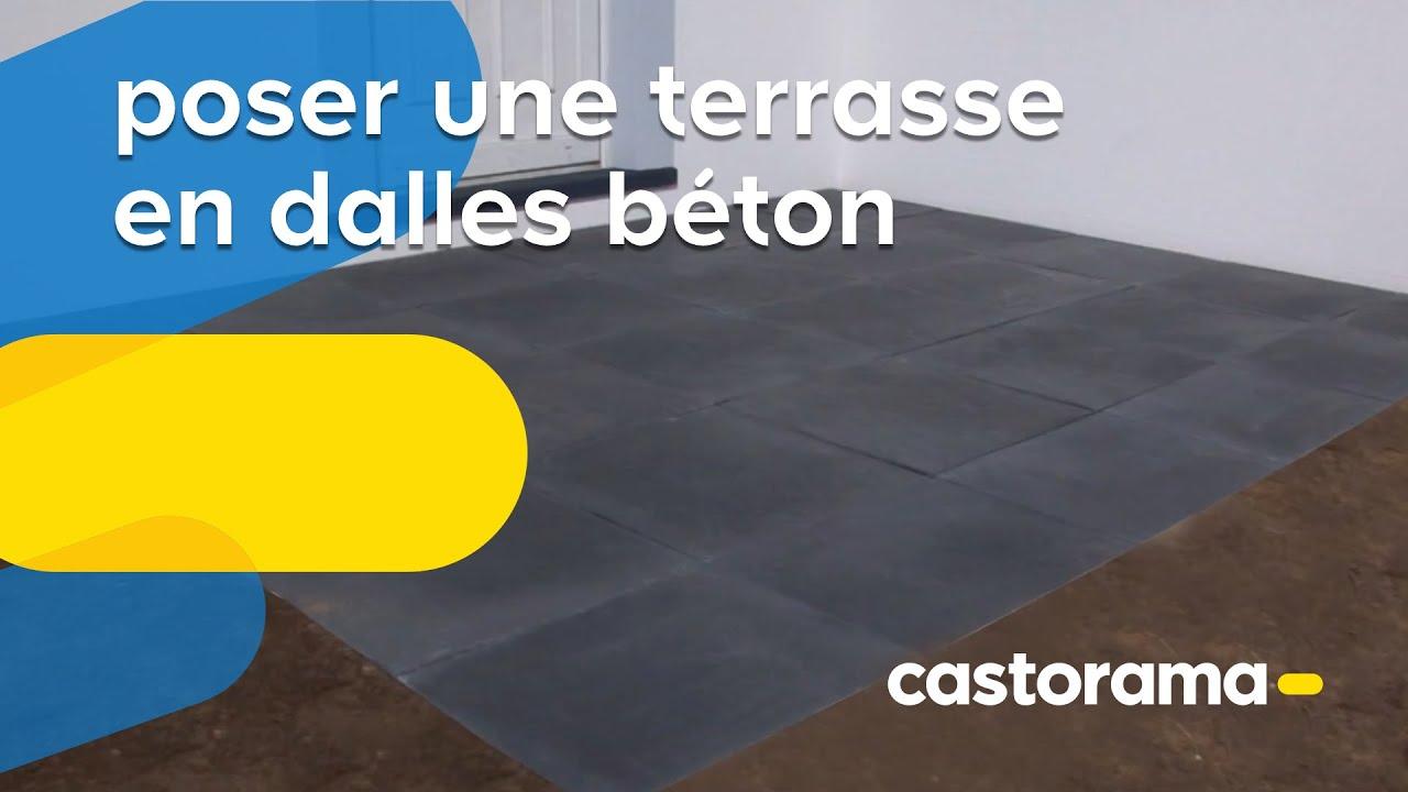 Poser une terrasse en dalles béton (Castorama) - YouTube