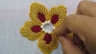 Hand Embroidery Beads Work, Flower Embroidery with Beads