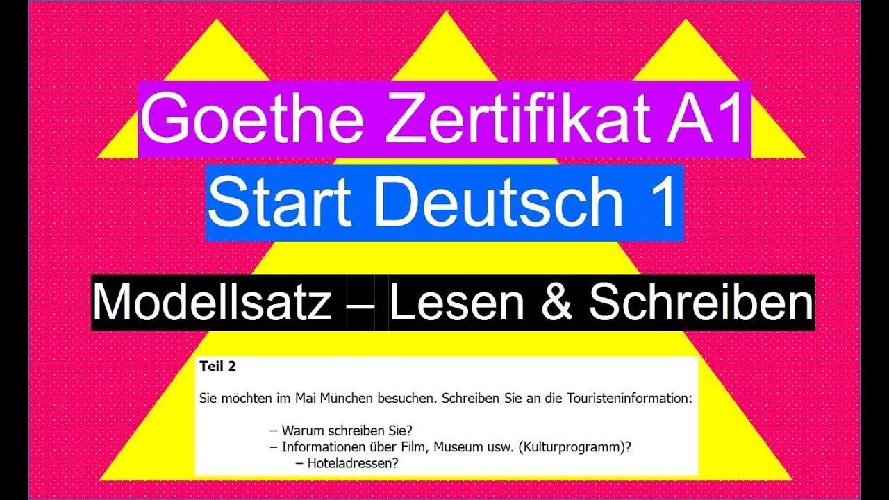 Goethe Zertifikat A1 Lesen Schreiben German Reading Writing